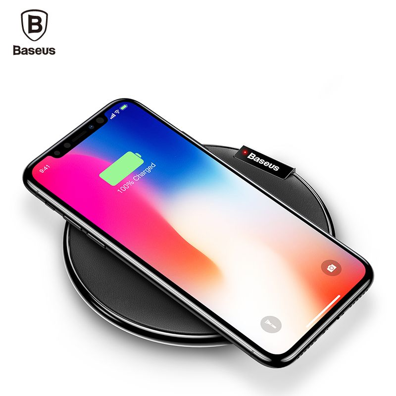 Baseus <font><b>Leather</b></font> Qi Wireless Charger For iPhone X 8 Plus Samsung Galaxy Note 8 S8 S7 S6 Edge Desktop Fast Wireless Charging Pad