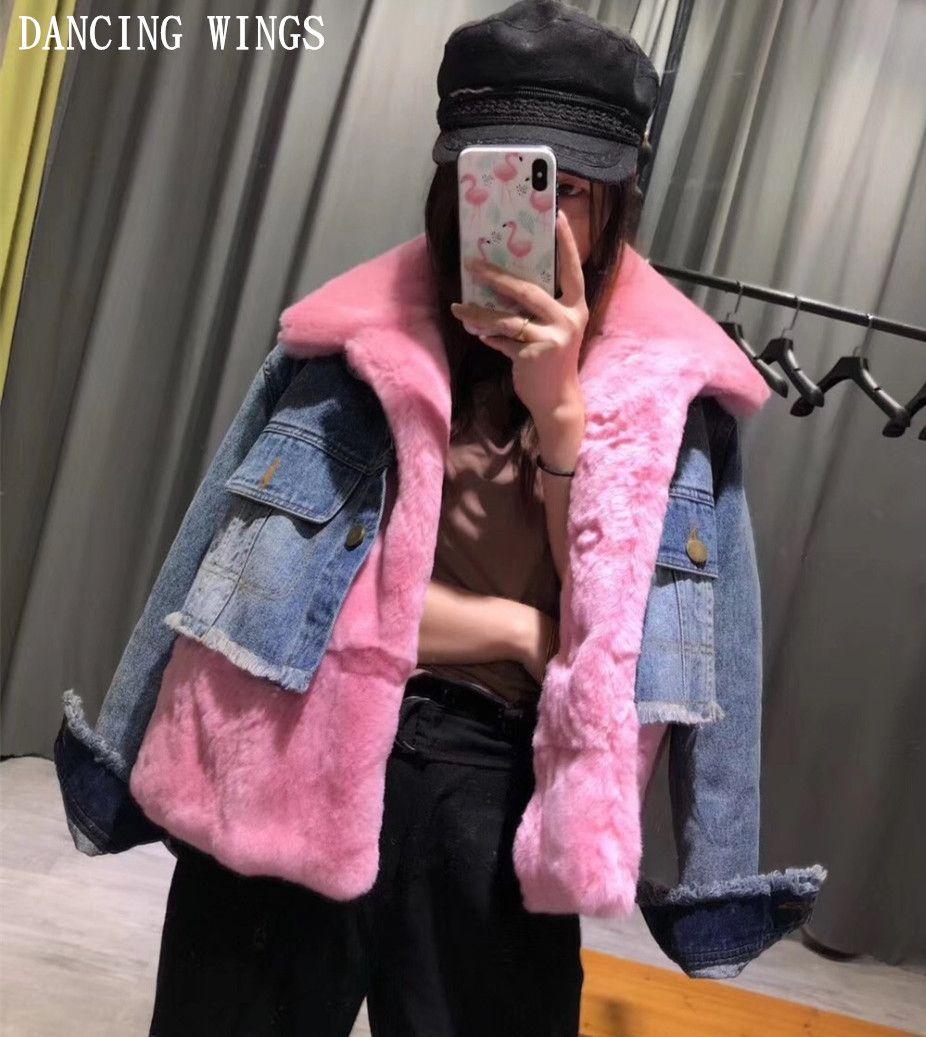 6 Colors Winter Fashion Genuine Natural Rex Rabbit Fur Jeans Coat Real Fur Denim Jacket Short Style Female Outerwear