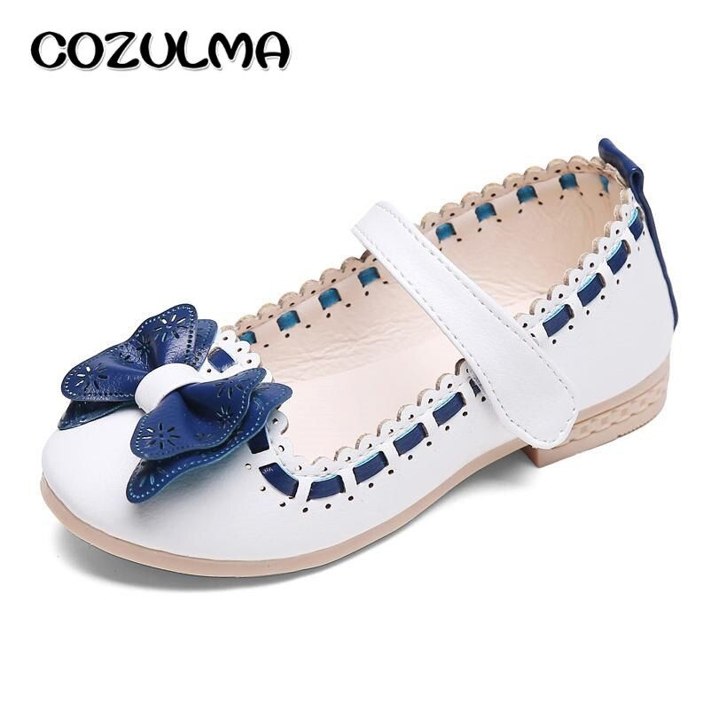 COZULMA Summer Autumn Girls Shoes Child Girls Sweet Shoes Kids Girls Butterfly-Knot Leather Princess Shoe Kids Leather Shoes