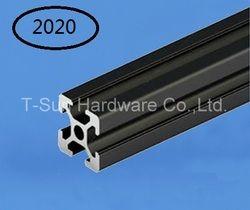 Noir En Aluminium Profil Aluminium Extrusion Profil 2020 20*20 couramment utilisé dans le montage cadre du dispositif, table et présentoir