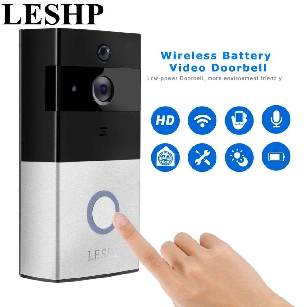 LESHP Video Doorbell 1080P Wireless WiFi Ring Door Bell HD 2.4G Phone Remote PIR Motion Two-way Talk Home Alarm Security