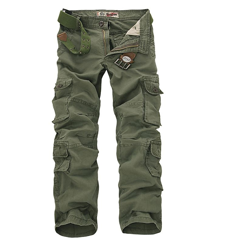 2017 Men Cargo Pants Army Green Multi Pockets Combat Casual Cotton Loose Straight Trousers Size 46 Male Easy Wash Pants no belts