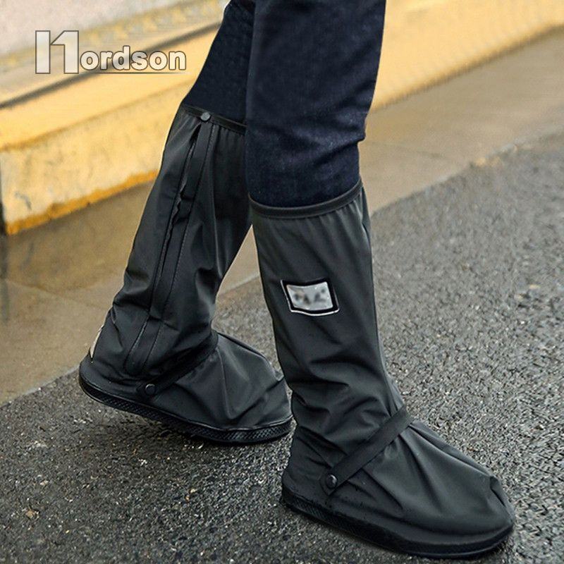 With Reflectors Waterproof Non-slip Motorcycle Cycling Bike Rain Boot Shoes Covers wear thicker for Motorcycle Scooter