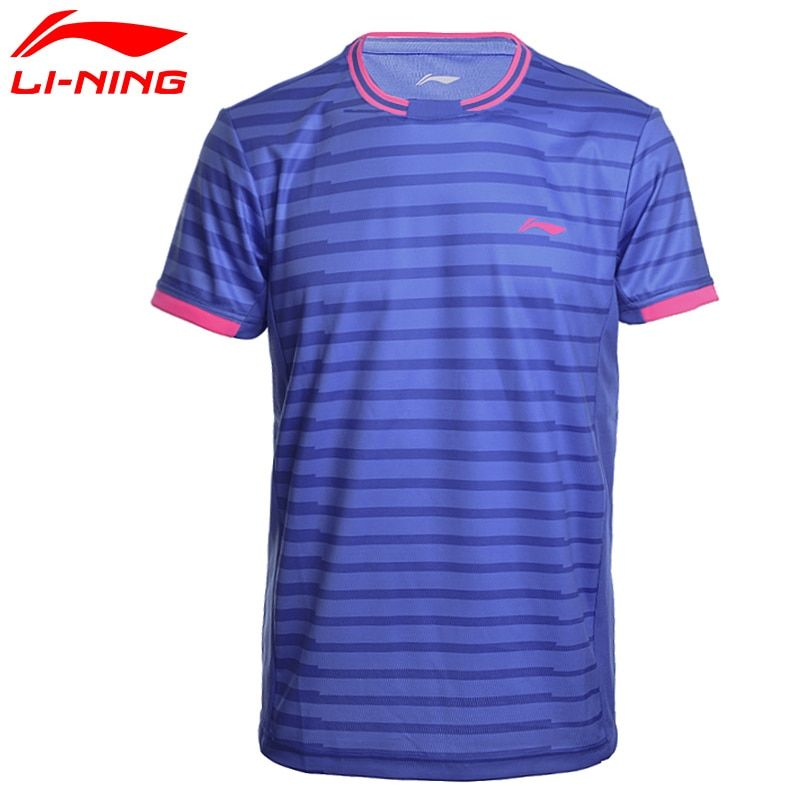 Li-ning Badminton Camisas de Los Hombres EN SECO Respirable Guarnición Regular Fit Deportes Camisetas Tee AAYM143 MTS2646