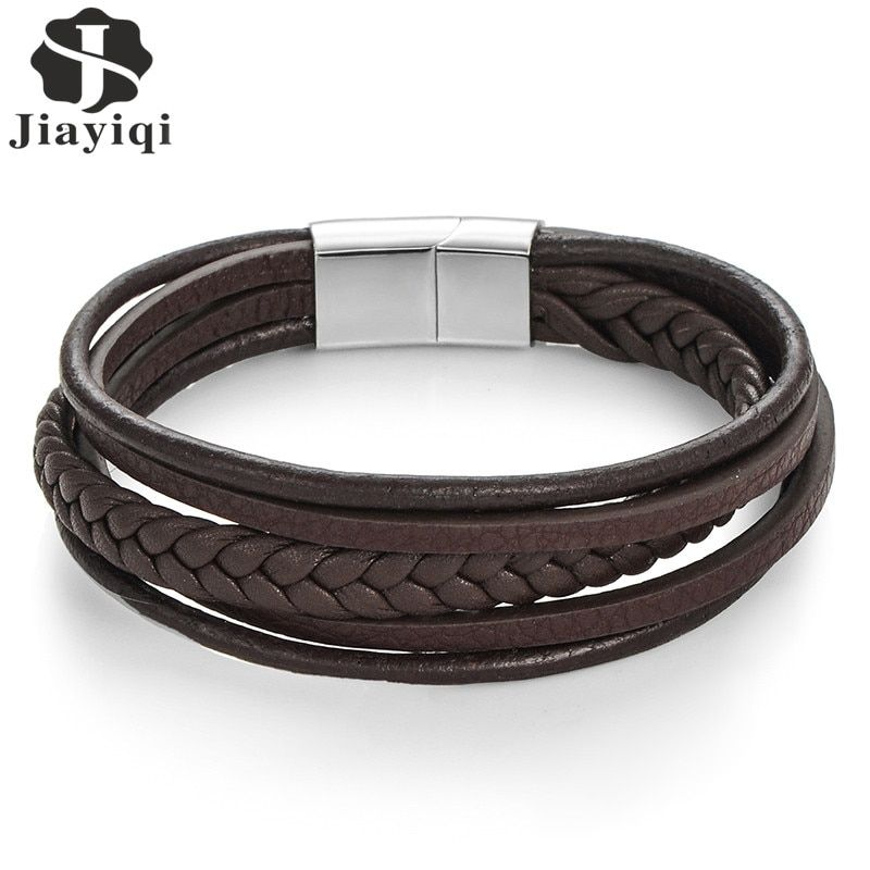Jiayiqi Fashion Genuine Leather Bracelet Men Stainless Steel Bracelets Braided Rope Chain for Male Jewelry Vintage Gifts