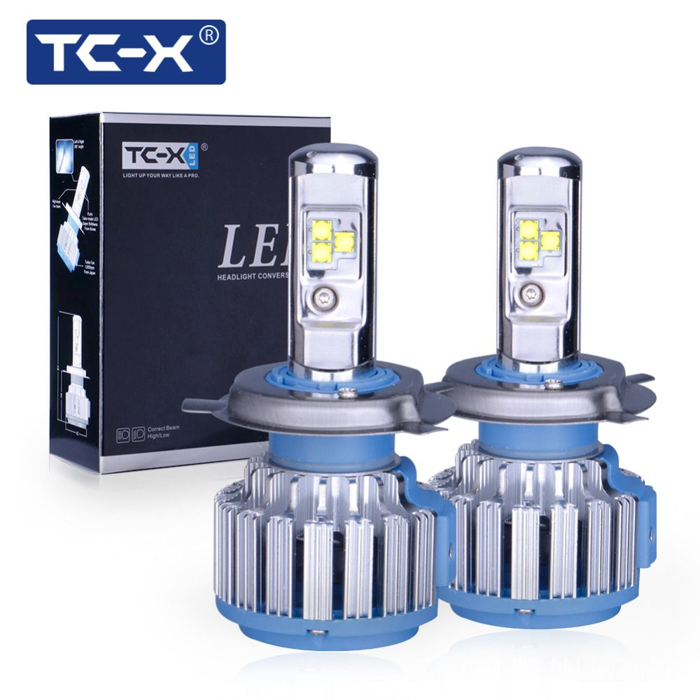 TC-X 2 PCS Car LED Headlight Bulbs Kit H4 Hi/Lo H11 H1 H7 Main Beam Dipped Beam 12V 6000K White LED Bulb Replacement Auto Lamp