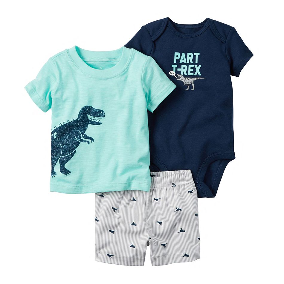 Hot! high quality Teamsters baby boy & girl clothing set short T-shirt + shorts or + romper 3 pcs Set baby clothes