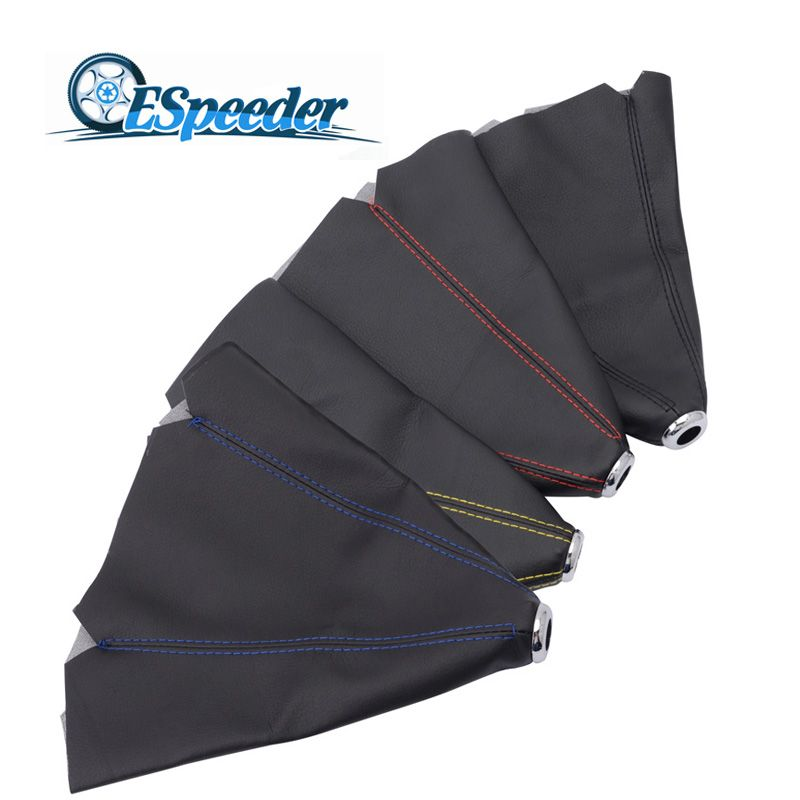 SPEEDWOW Universal Leather Short Shifter Collars Red Yellow Blue Black Stitch Shift Knob Shifter Boot Cover MT/AT