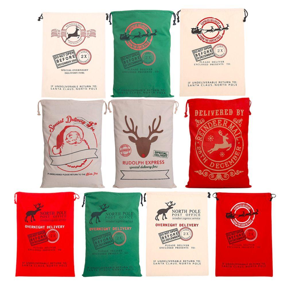 Año 1 unids Creativo Santa Claus Deer 6 Estilos Cordón Lienzo Saco de Santa Bolsa de Regalo de Navidad Decoración Rústica de La Vendimia