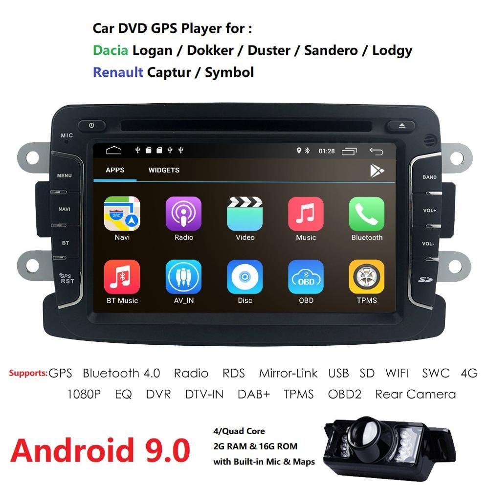 Android 9.0 lecteur DVD de voiture pour Dacia Sandero Duster Renault Captur Lada Xray 2 Logan 2 RAM 4G WIFI GPS Navigation Radio SWC DAB +