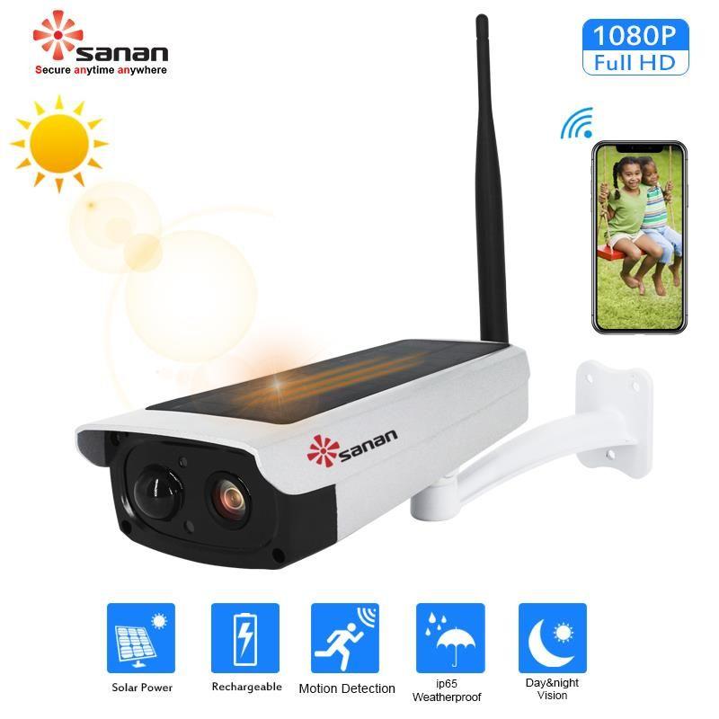 SANAN Outdoor Wasserdicht Überwachungs Kamera 1080 P Solar Sicherheit Kamera Nachtsicht Wireless IP Kamera Wifi Kamera PIR Alarm