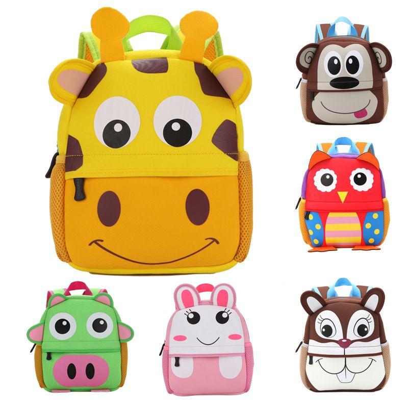 2017 New 3D Animal Children Backpacks Brand Design Girl Boys Backpack Toddler Kids Neoprene School Bags Kindergarten Cartoon Bag