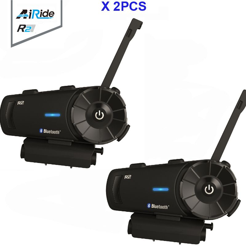 2PCS Airide R2 1000m 4 Riders Motorcycle Bluetooth Group Intercom Headset FM MP3 Handsfree BT Interphone For Full Face Helmet