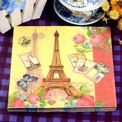 Paris Eiffel Tower Flower Paper Napkins Cafe & Party Tissue Napkins Decoupage Decoration Paper 33cm*33cm 20pcs/pack