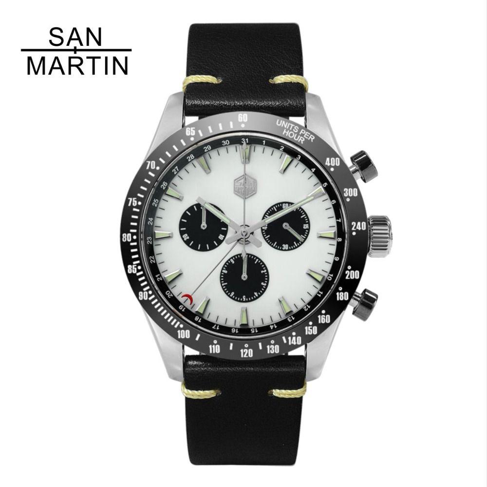 San Martin Neue Vintage Quarzuhr Stainlss Stahl Chronograph uhr Keramik lünette Schweizer Bewegung Hohe Qualität Uhr Armbanduhr
