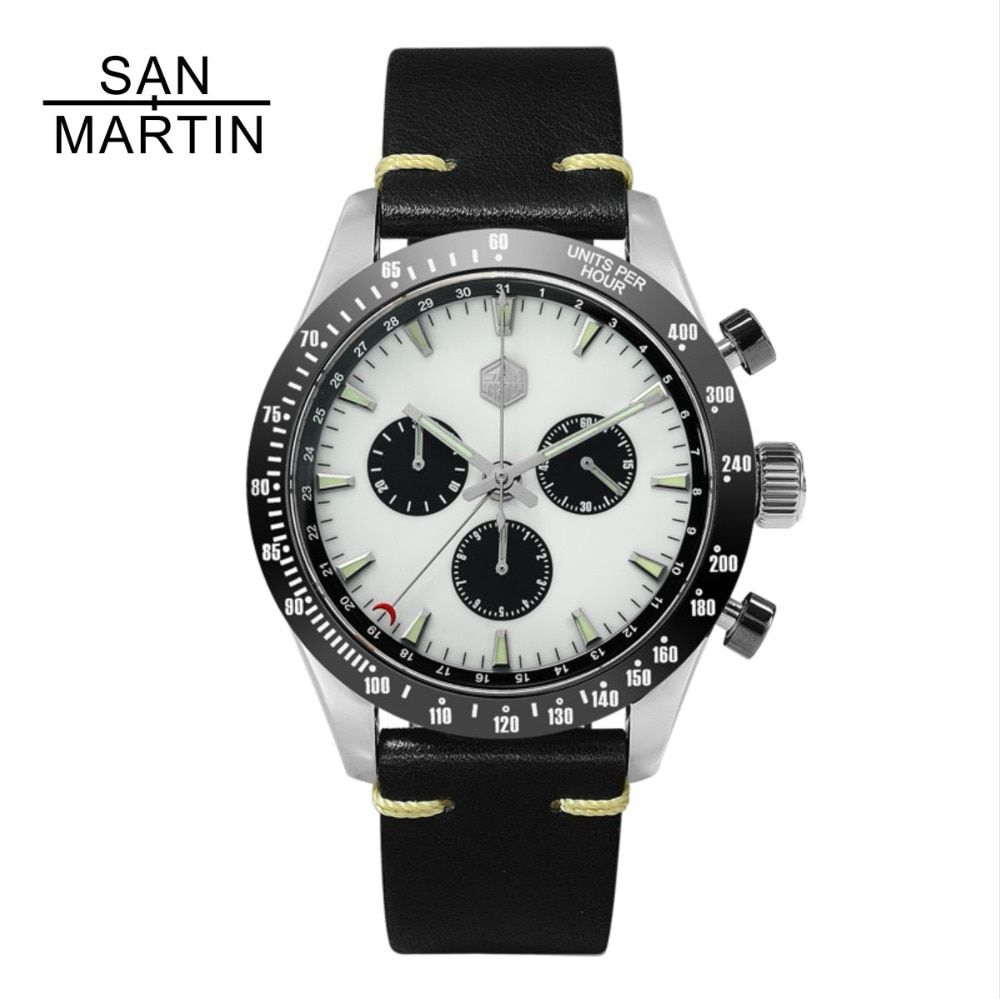 San Martin New Vintage Quartz Watch Stainlss Steel Chronograph watch Ceramic bezel Swiss Movement High Quality Clock Wristwatch