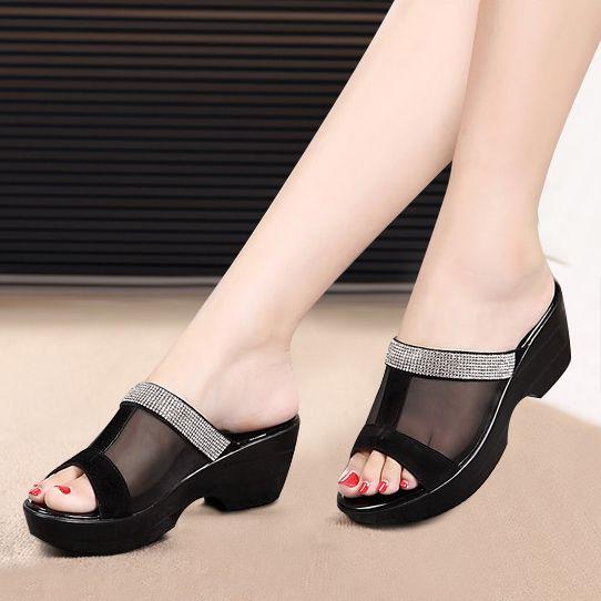 Sandalias de plataforma de Zapatos de la Madre Verano Impermeables Zapatillas de Cuero Genuino Más El Tamaño 42 de la Gasa de Diamante Mujer Sapato Feminino