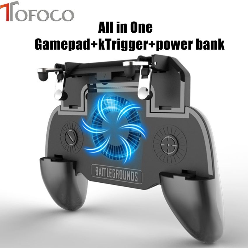 All in One Mobile Gaming Game Pad For PUBG Mobile Game Controller Gamepad Joystick Metal L1 R1 Trigger with 2000mA power bank
