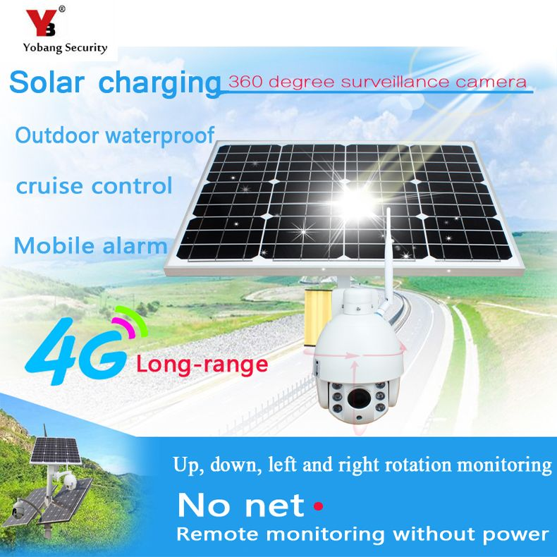 YobangSecurity 1080P 2.0M 5x Optical Zoom Solar Power Battery Surveillance Camera Wireless Outdoor Waterproof IP Camera 4G SIM