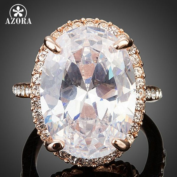 AZORA Or Rose Couleur Grand Ovale-cut 5ct En Forme D'oeuf Clair Cubique Zircone Bague TR0127