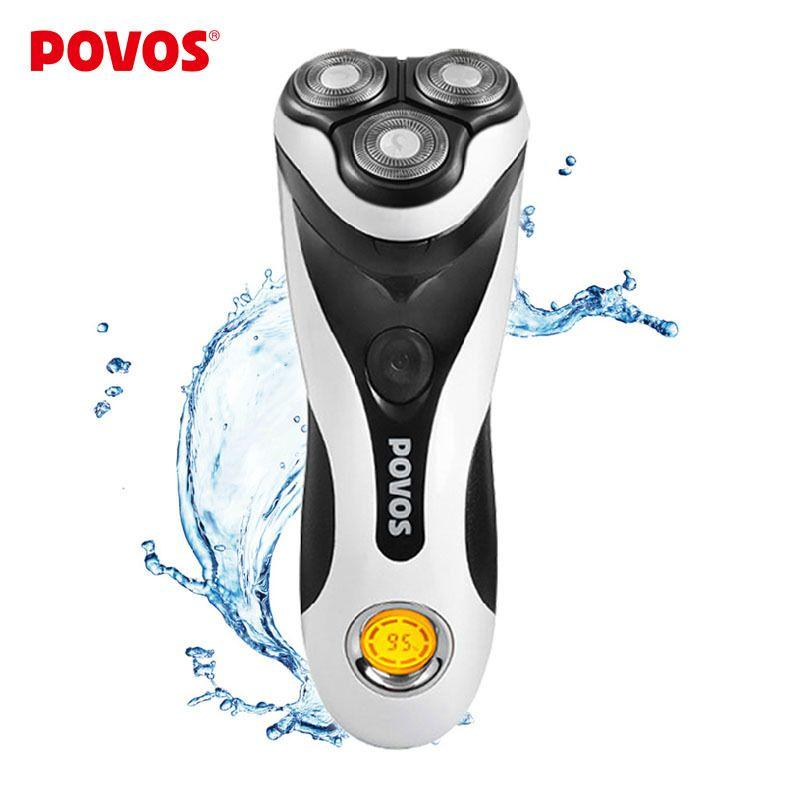 Электрическая бритва для мужчин, мужские роторные бритвы, ТРИММЕР для бритья, тройное лезвие, моется, LCD, НОВИНКА, POVOS PQ8602, 100-240 В