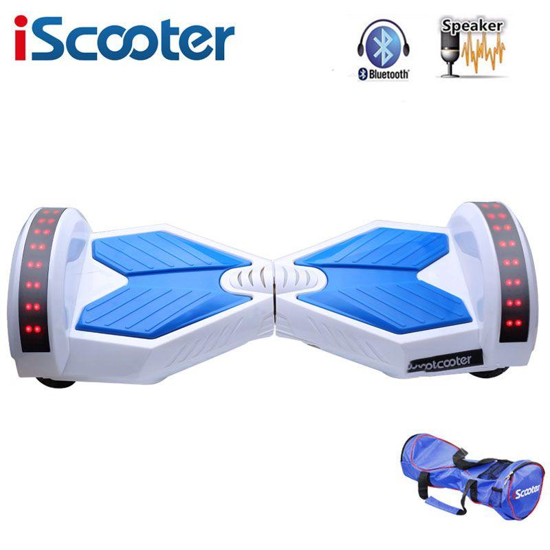 IScooter hoverboard 8 zoll Bluetooth 2 Rad selbstausgleich Elektroroller zwei Smart Rad mit funkschlüssel Und FÜHRTE Skateboard