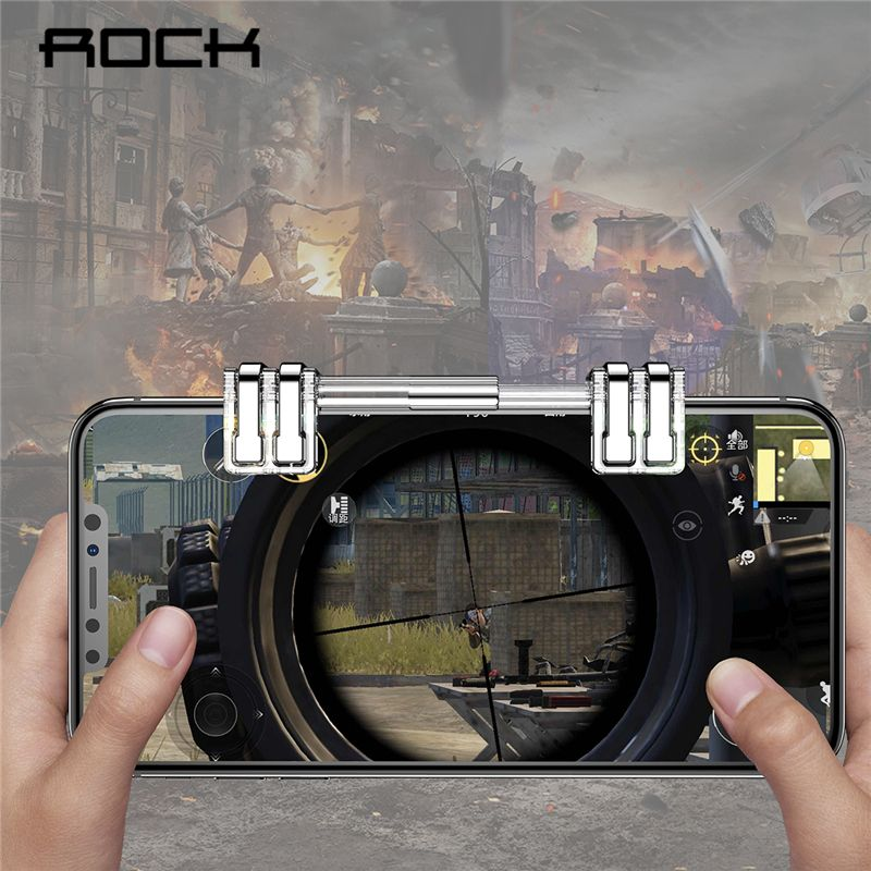 ROCK Retractable Shooting Game Controller Metal Fire Button Aim Key Phone Gaming Trigger for PUBG Rules of Survival L1 R1