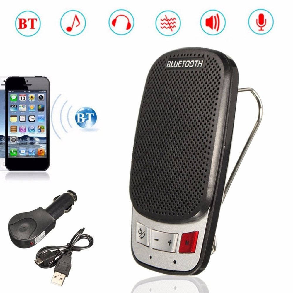Multifunction Wireless Bluetooth Hands Free Car Auto Kit Speakerphone Speaker Phone Visor Clip With USB Car Charger