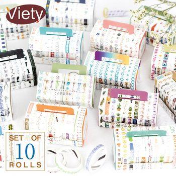 10 Pcs/Box Decoration Dividing line washi tape DIY decoration scrapbooking planner masking tape adhesive tape label sticker