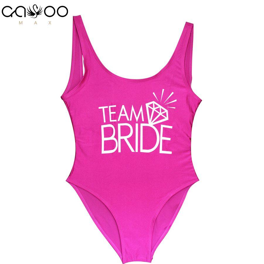 Équipe mariée lettre impression diamant motif une pièce maillot de bain femmes maillots de bain Sexy mariage enterrement de vie de garçon maillot de bain maillots de bain