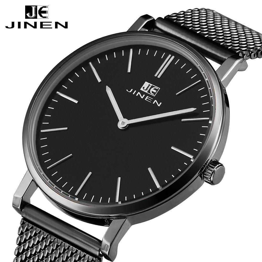 JINEN Men Fashion Stainless Steel Band Watch Ultra-thin Case Elegant Classic Luxury Luminous Analog Business Quartz Wristwatch