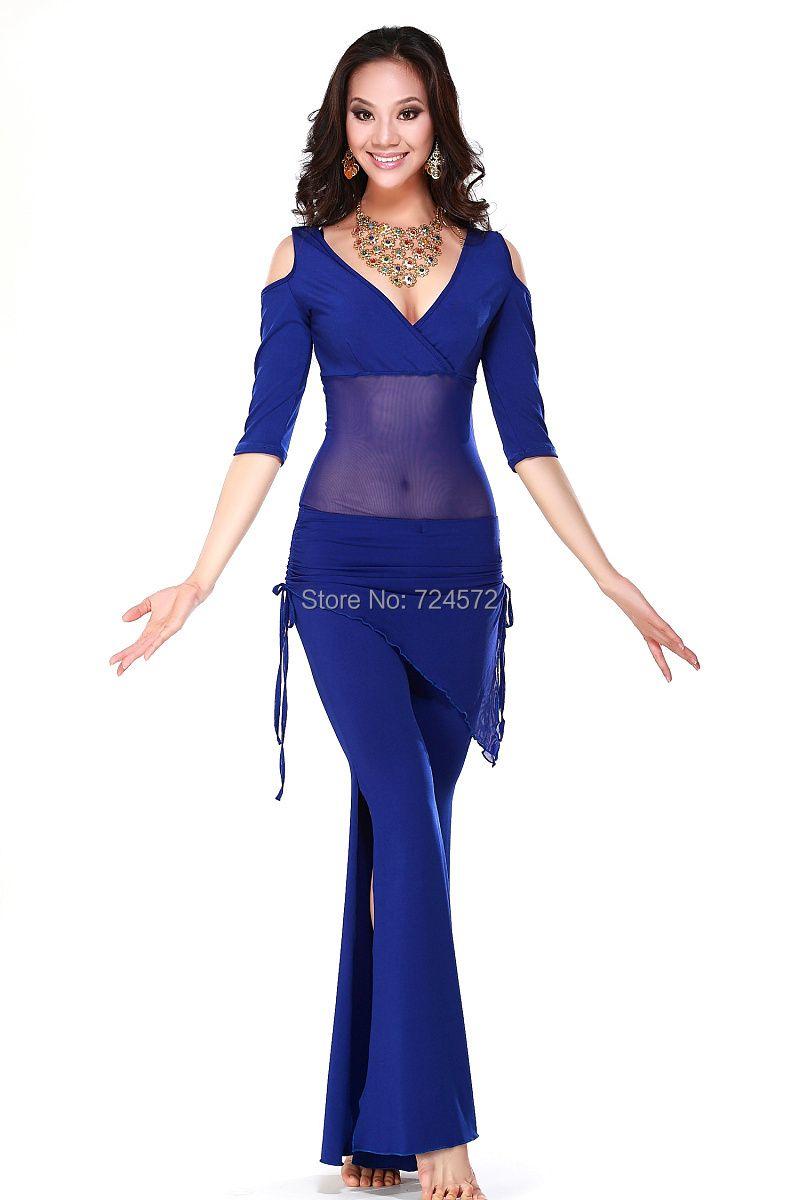 Комплект из шелка для танца живота (2 шт топ+пояс ) 6 цветов для женщин