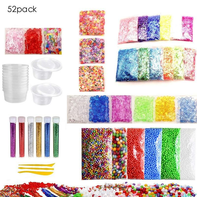 52 Pack Slime Making Kit Colorful Foam Ball Granules Flat Beads Gold Powder Candy Paper Polymer Clay Set Children's DIY Material
