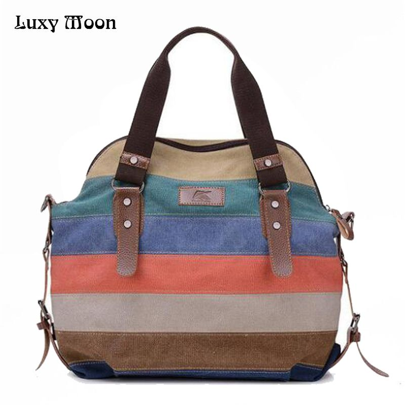 2017 women bag Casual canvas handbag Tote Bags Retro shoulder bags Women rainbow patchwork Handbags women messenger bag ZD141