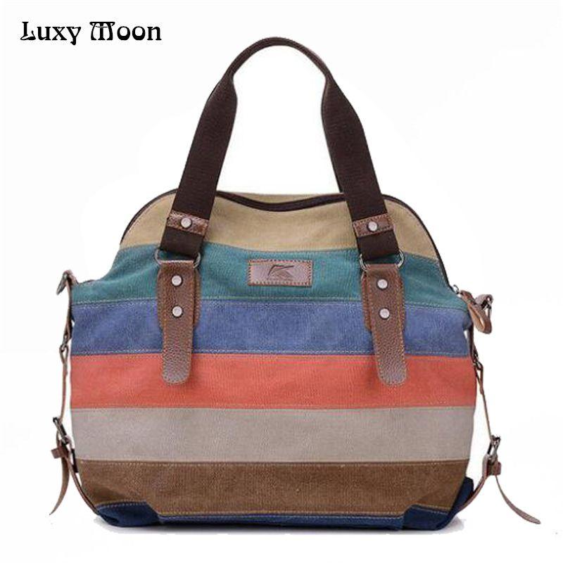 2017 women bag Casual canvas handbag Tote Bags Retro shoulder bags Women rainbow patchwork Handbags women messenger bag ZD141