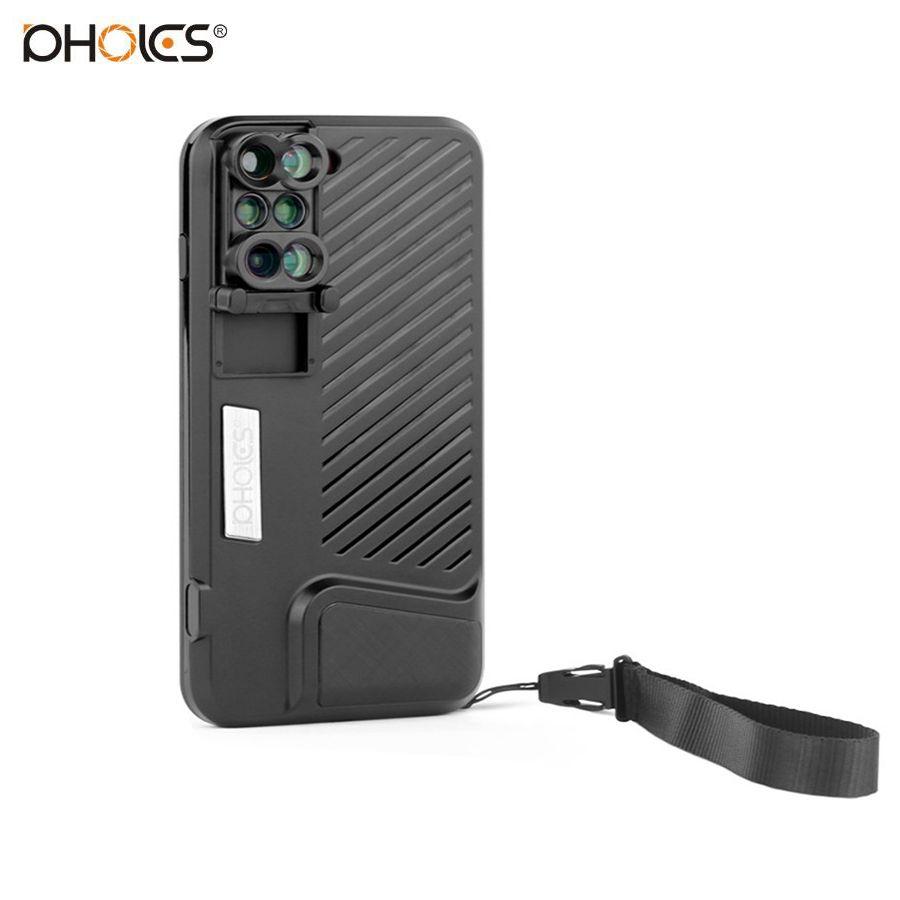 PHOLES Double Camera Lens Pour iPhone 7 Plus Fisheye + Grand Angle + Macro + Objectif de Télescope Avec Sling et Cas de Couverture Arrière