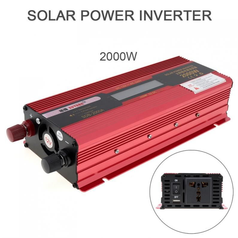 2000W DC 12V 24V to AC 220V 110V Portable Solar Power Car Inverter Charger Converter Adapter with LCD Display Converter