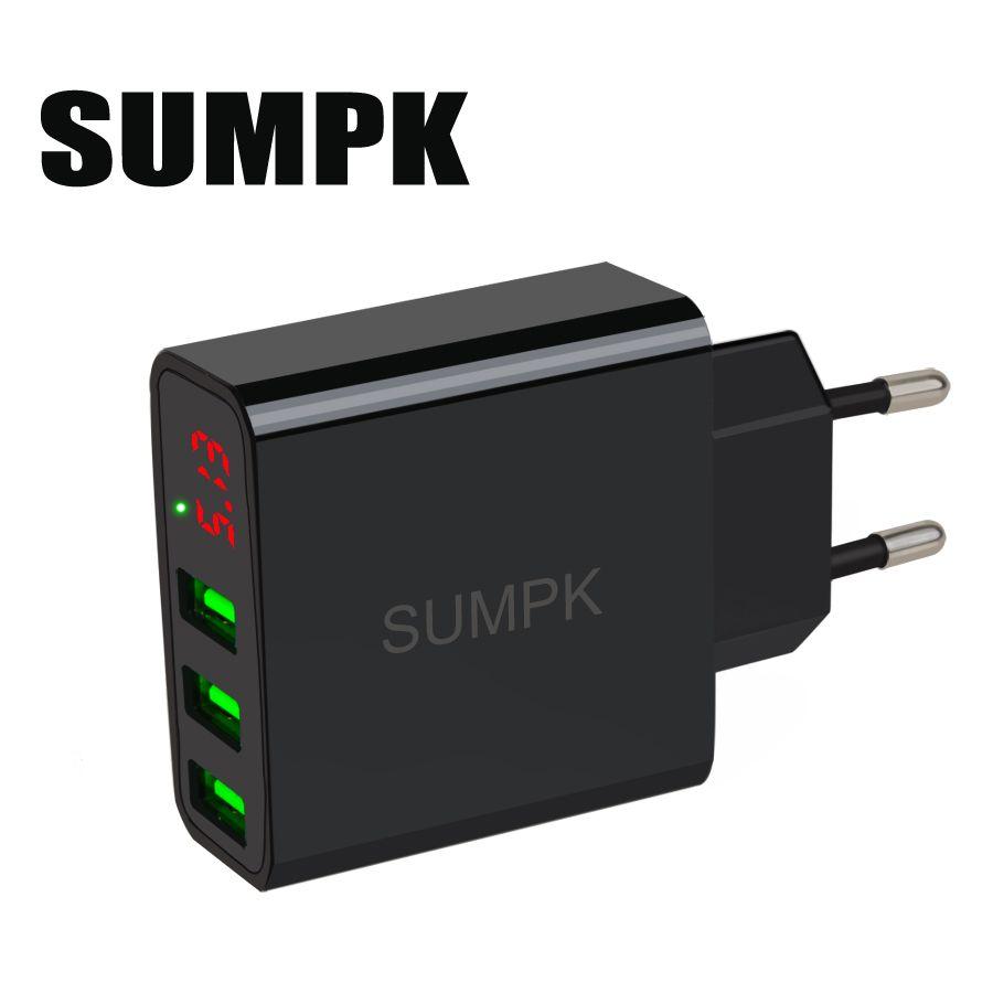 SUMPK usb chargeur mural 5V3. 1A LED affichage Portable téléphone Chargeur 3 USB Mobile Téléphone Chargeur de Voyage UE plug pour iphone Samsung