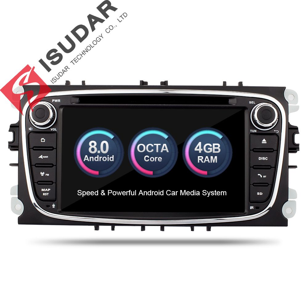 Android 8.0 2 Din 7 Inch Car DVD Player For FORD/Focus/Mondeo/S-MAX/C-MAX/Galaxy 4GB RAM 32G ROM 3G/4G Wifi GPS Navigation Radio