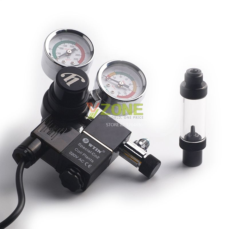 Chihiros Aquarium Wyin Double Guage CO2 Regulator with Check Valve Bubble Counter Magnetic Solenoid Valve and Installing Kits