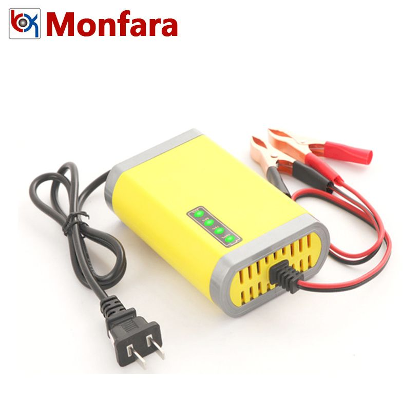 12V Automotive Motorcycle Battery Charger for 7AH 10AH 12AH 20AH Car Motor AGM GEL Lead Acid Battery Auto Charging LED Display