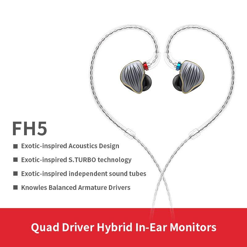FiiO FH5 Metall Fall Knowles Abnehmbare Kabel MMCX Design Quad Fahrer Hybrid HIFI Kopfhörer 3,5mm für iOS und Android computer PC