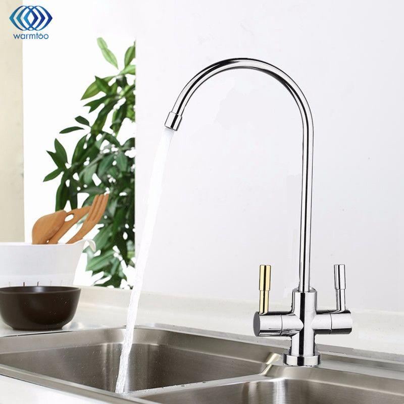 1/4 ''chrom Trinkwasser RO Wasserfilter Wasserhahn Edelstahl Finish Umkehrosmose Waschbecken Küche Doppel Löcher Wasseraufnahme