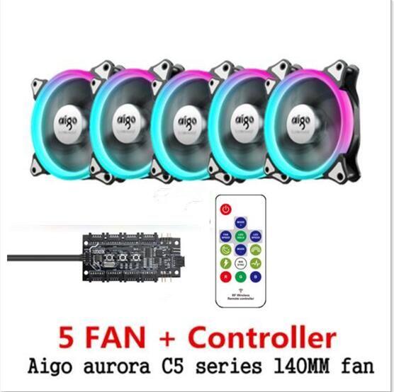 Aigo C3 C5 pro aura sync Boîtier de L'ordinateur PC De Refroidissement Ventilateur RGB Ajuster LED 140mm Calme IR À Distance ordinateur refroidisseur De Refroidissement Cas RVB Ventilateur