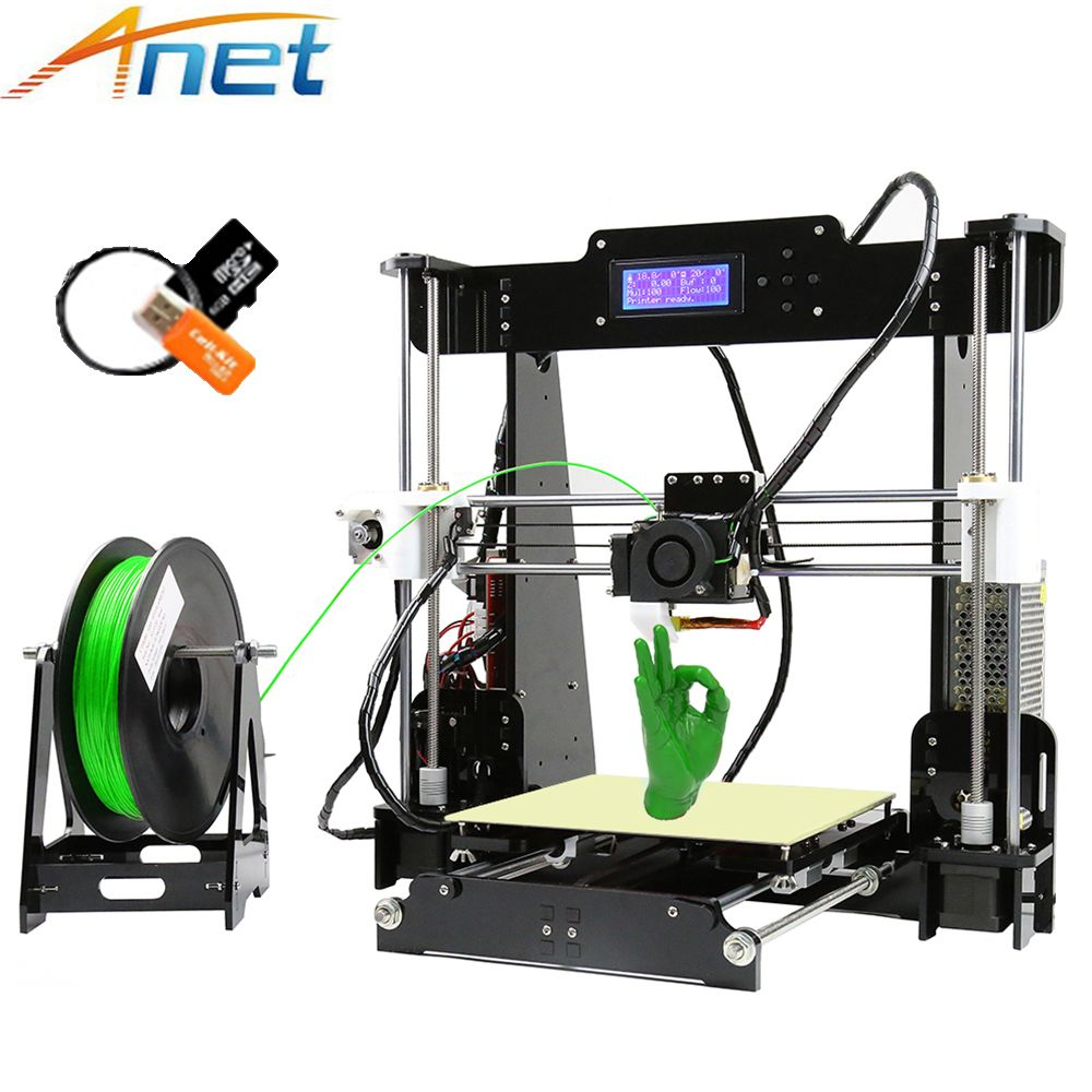 2017 Popular Anet A8 A6 3D Printer Reprap i3 3D Printer Kit Large Printing Size DIY with Filament+8GB+Tool High Quality Precise