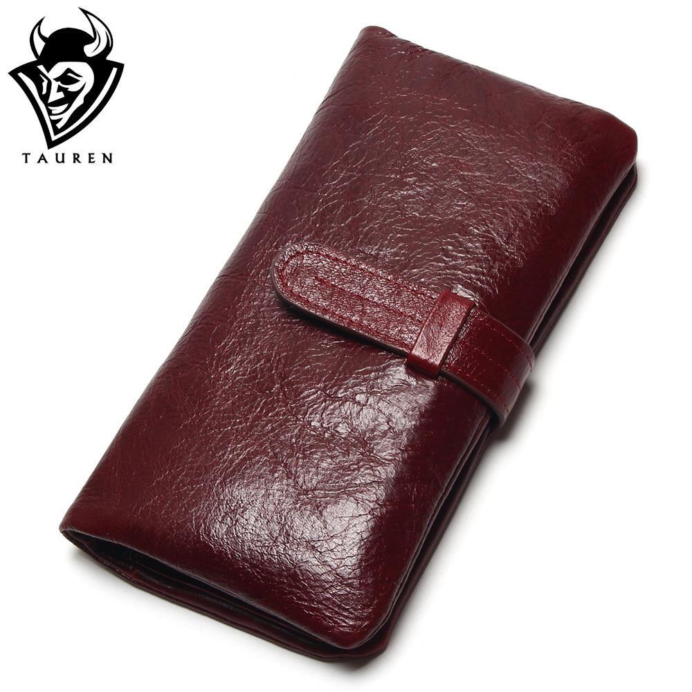 Women Dark Red Color Wallet 100% Top <font><b>Genuine</b></font> Oil Wax Cowhide Leather Long Bifold Wallets Purse Vintage Designer Coin Purse