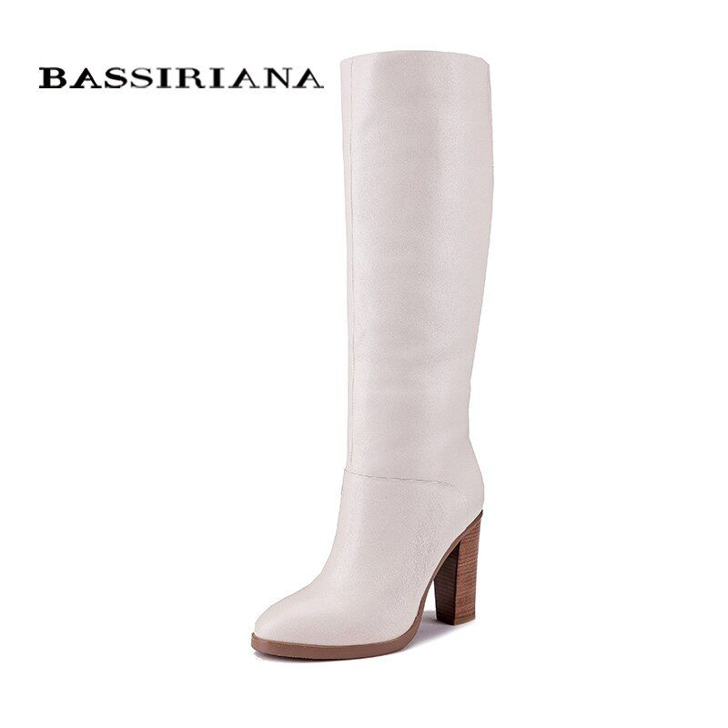 BASSIRIANA Fashion Winter casual Boots princess sweet women boot High-heeled shoes fashion Mid-calf boots
