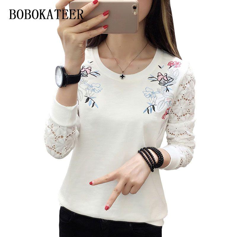 BOBOKATEER t-shirt à manches longues femmes t-shirt blanc broderie hauts camisetas mujer manga larga t-shirt femme vêtements femmes 2019