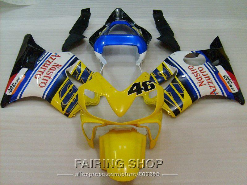Yellow Injection Kits for Honda Fairings CBR 600F4i 2001 2002 2003 ( blue sticker ) cbr600 F4i 01 02 03 fairing kit ll85