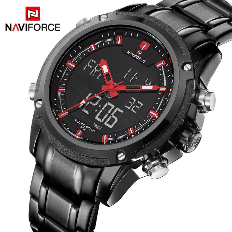 NAVIFORCE D'origine Marque De Luxe En Acier Inoxydable Quartz Montre Hommes Horloge LED Numérique Armée Militaire Sport Montre-Bracelet relogio